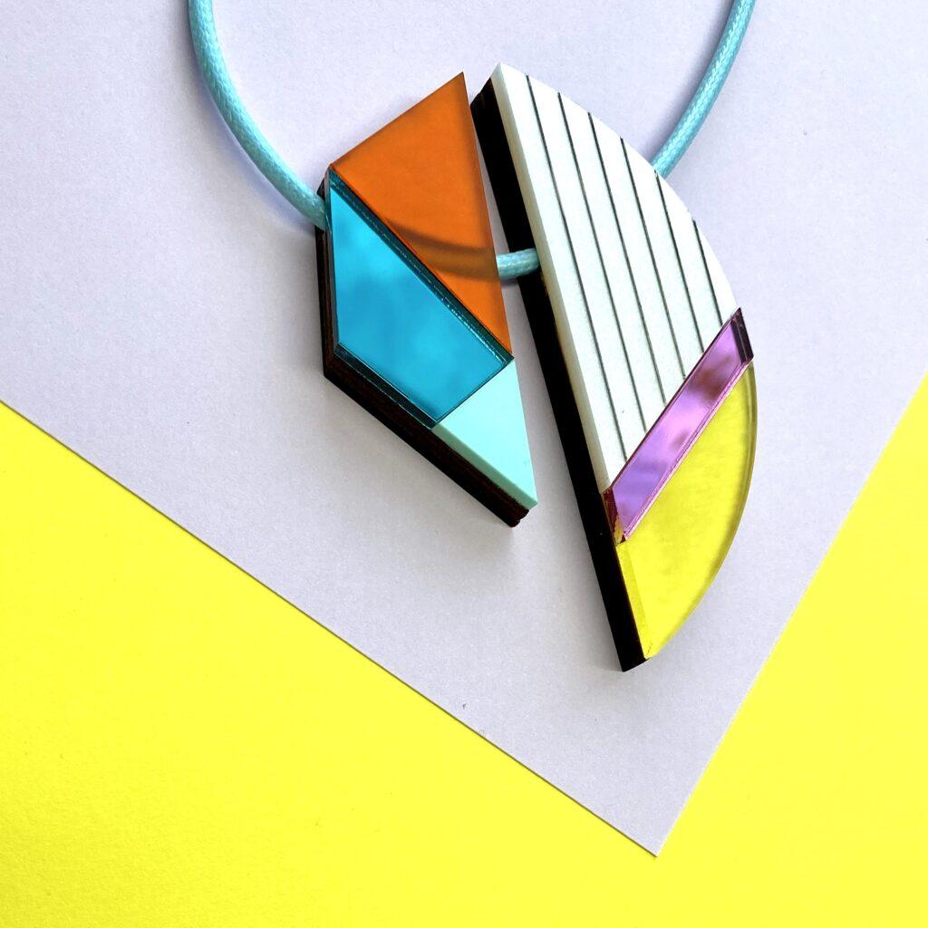 Aki Acrylic & Walnut Statement Necklace | Studio Dariolina