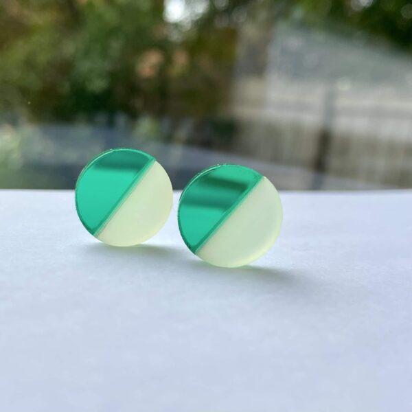 Emi Mirror Green and Frost Lemon Acrylic Earrings | Studio Dariolina